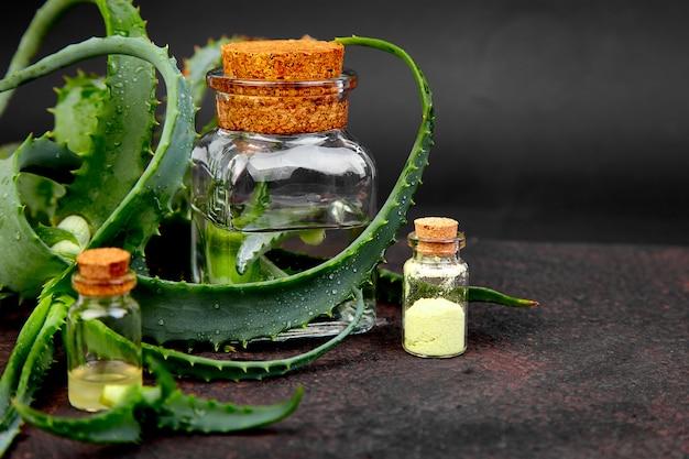 Aloe vera oil in glass bottle Premium Photo