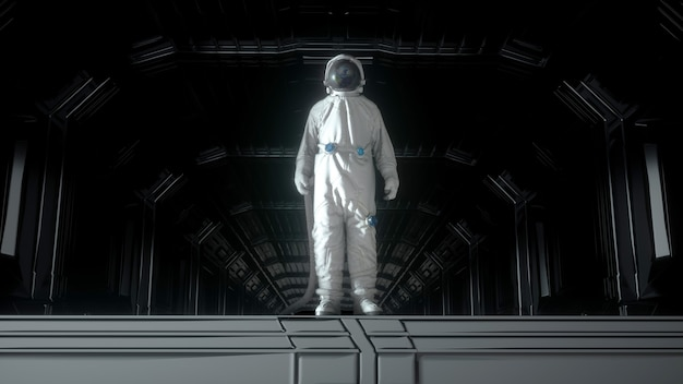 Alone astronaut in futuristic space corridor, room. the planet earth reflects in a spacesuit helmet. 3d rendering. Premium Photo