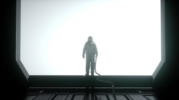 未来的なインテリアの一人の宇宙飛行士。大きな窓のあるsfルーム。 3dレンダリング。 Premium写真