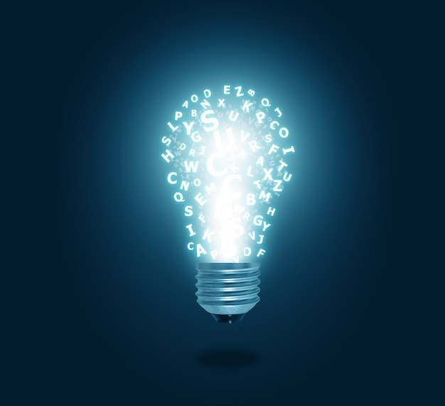 Alphabet light bulb Premium Photo
