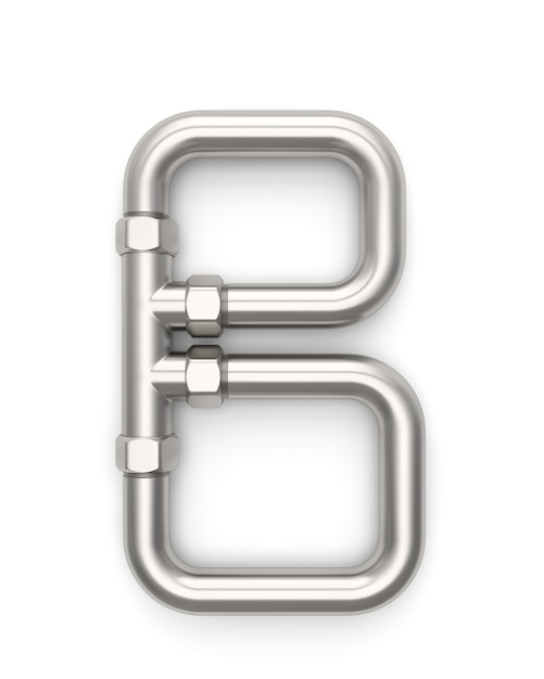 Alphabet made of metal pipe, letter b 3d rendering Premium Photo