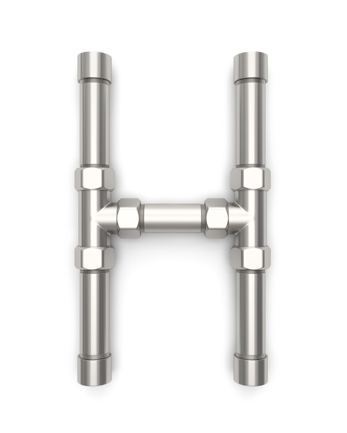 Alphabet made of metal pipe, letter h 3d rendering Photo