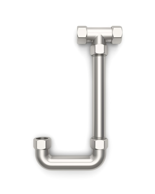 Alphabet made of metal pipe, letter j 3d rendering Photo