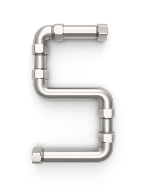 Alphabet made of metal pipe, number 5 Premium Photo