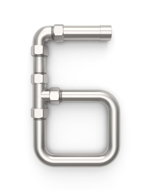 Alphabet made of metal pipe, number 6 Premium Photo