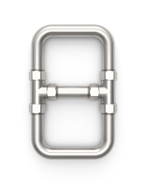 Alphabet made of metal pipe, number 8 Premium Photo