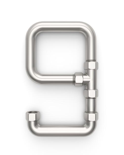 Alphabet made of metal pipe, number 9 Premium Photo