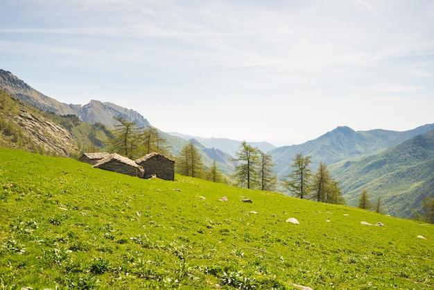 Alpine stone huts in amazing green scenery Premium Photo