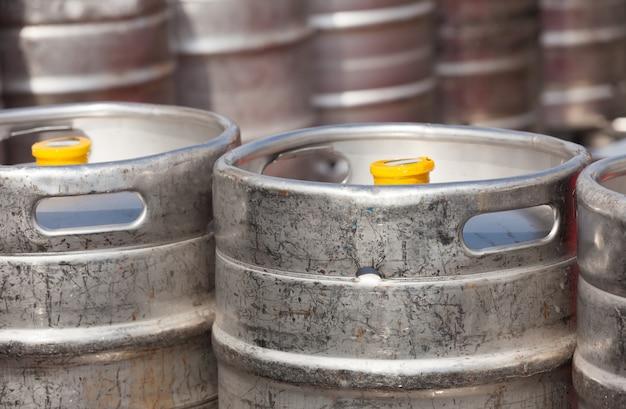 Aluminium  beer kegs Free Photo