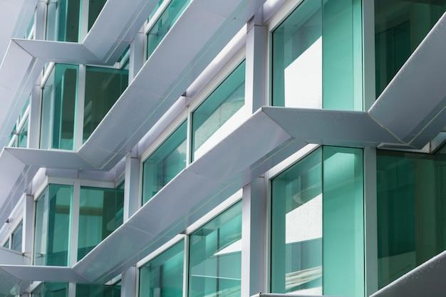 Aluminium composite material (acm) office building exteriors flammable cladding. Premium Photo