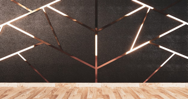 Aluminum trim gold on black wall design and wooden floor Premium Photo