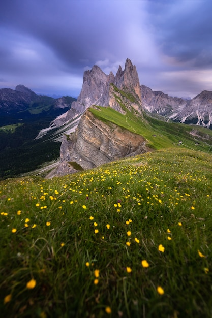 Amazing landscapes view of green mountain with blue sky on summer from dolomites, italy. Premium Photo