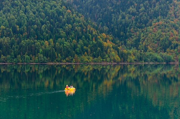Amazing nature landscape view of lake small ritsa Premium Photo
