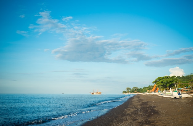 Amed black sand beach Free Photo