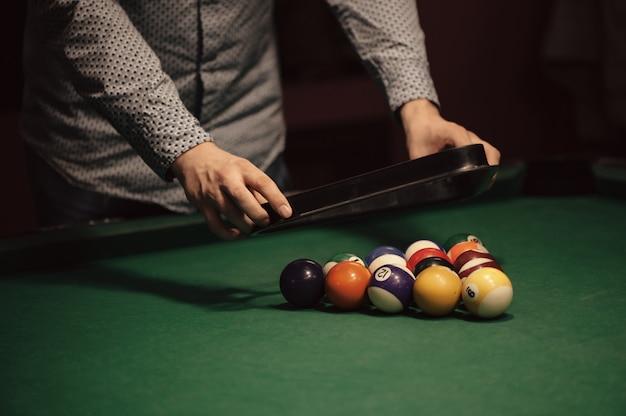 American billiard poule. triangle of billiard balls. Premium Photo
