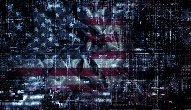 American flag background with folds and creases and a coding