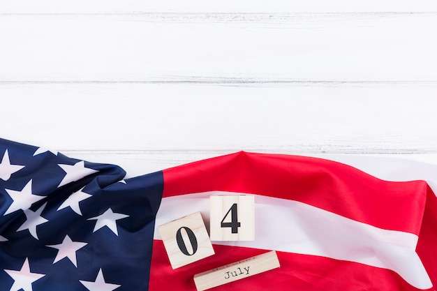 American flag banner letters and numbers on white surface Free Photo