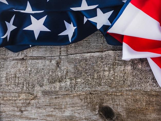American flag. beautiful greeting card. close up Premium Photo