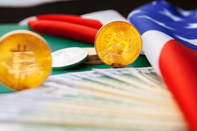 American flag and bitcoin, new economy on the internet Premium Photo