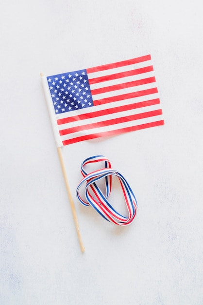 American flag and national colors ribbon Free Photo