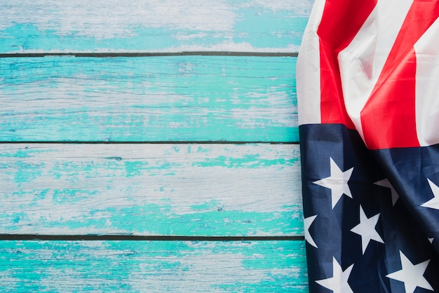 American flag on painted planks Free Photo