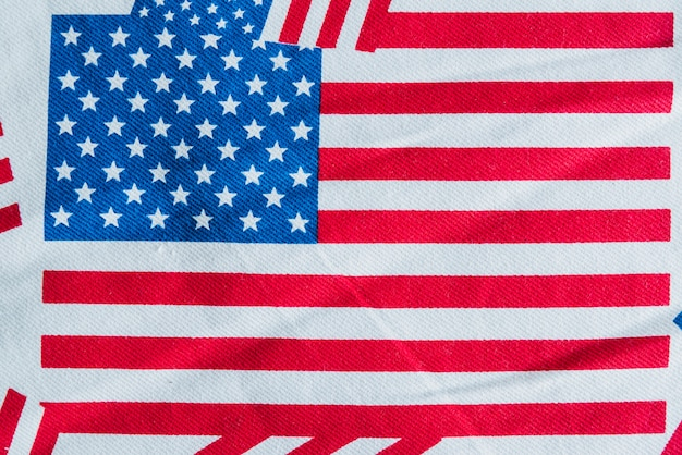 American flag printed on fabric Free Photo