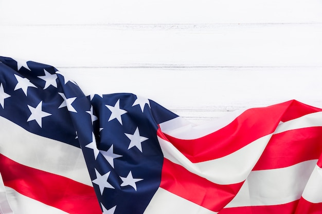 American flag streamer on white surface Free Photo