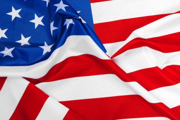 American flag waving in the wind. Premium Photo