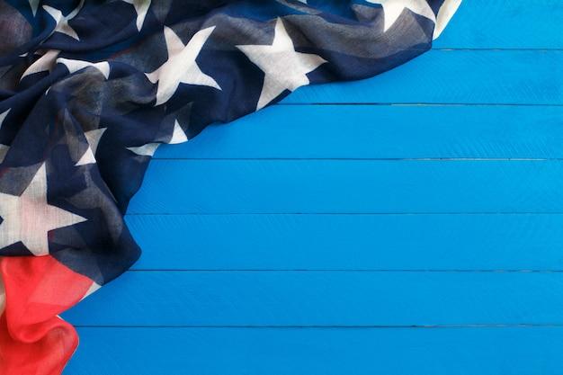 American flag on wooden Premium Photo