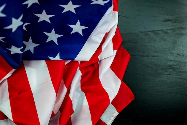 American flags on black wood for background Premium Photo