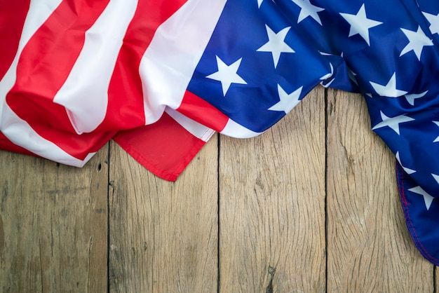 American flags on old wood for background Premium Photo