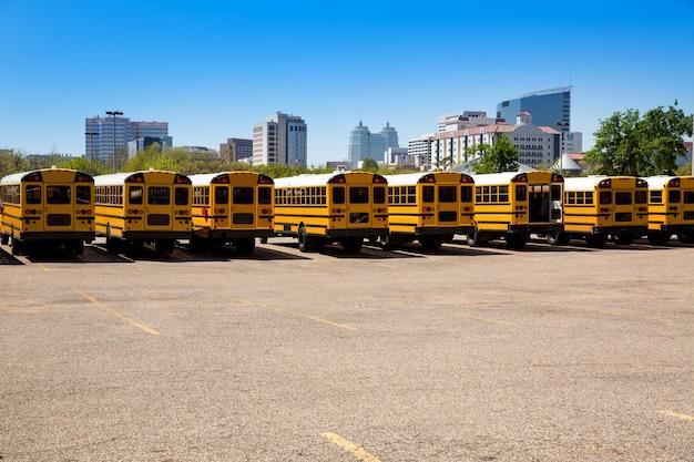 American typical school bus rear view in houston Premium Photo