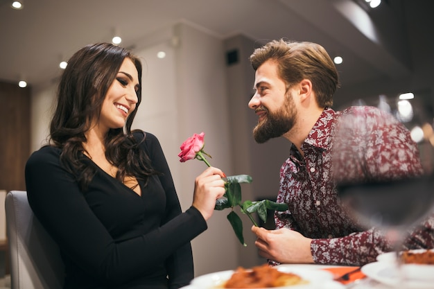 Amorous couple in restaurant having date Free Photo
