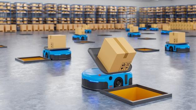 ロボットの軍隊が1時間あたり数百の小包を効率的に仕分け Premium写真