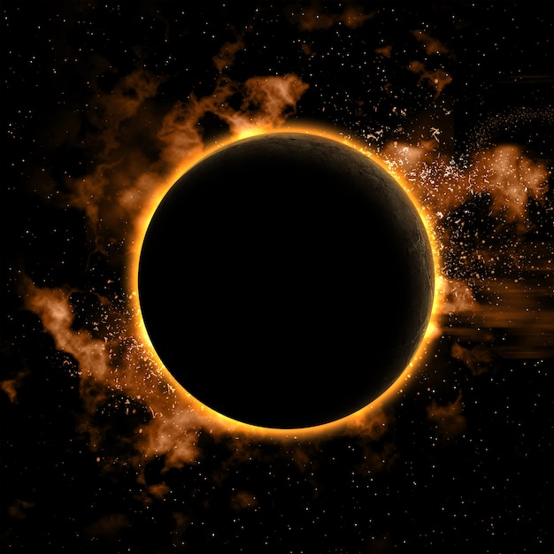 Космический фон с nebual и затмила планеты Бесплатные Фотографии