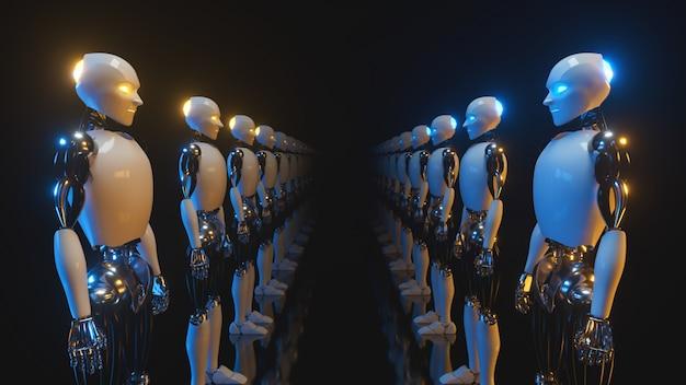 ロボットが向かい合う無限の回廊 Premium写真