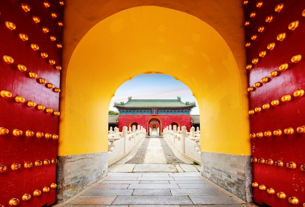 Ancient buildings in beijing, china.chinese text is: zhai palace,the name of the ancient building. Premium Photo