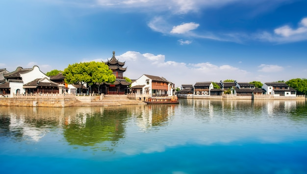 Ancient buildings and houses in shantang street, suzhou Premium Photo
