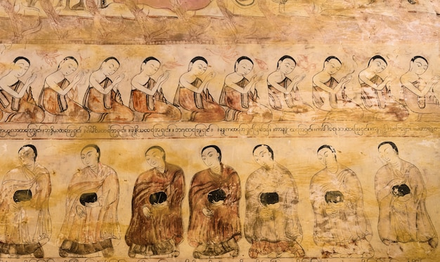 Ancient burmese mural in bagan temple, myanmar Premium Photo
