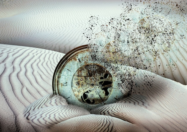 Ancient clock disintegrating buried in desert sand, end of time Premium Photo