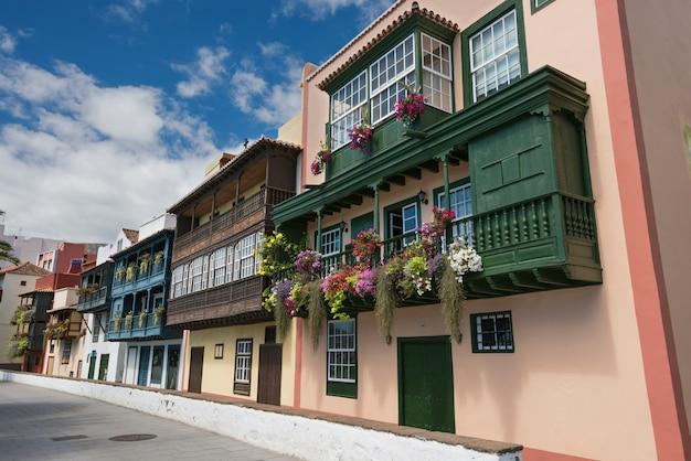 ancient colorful balconies colonial houses facades in santa cruz la palma island in spain premium