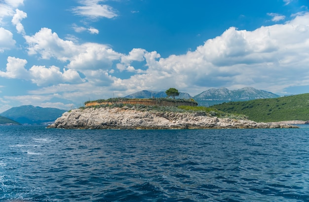 Ancient fortress is located on the island of mamula. boka-kotor bay. montenegro. Premium Photo