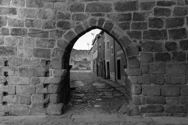 Ancient medieval gate in the historical town of san felices de los gallegos. Premium Photo