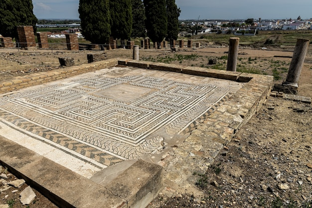 Древняя мозаика на римских руинах италики Premium Фотографии
