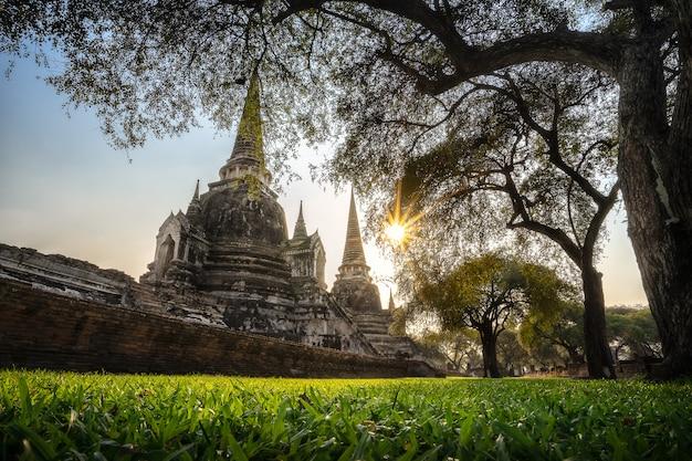 Ancient pagoda in buddhist temple thailand. Premium Photo