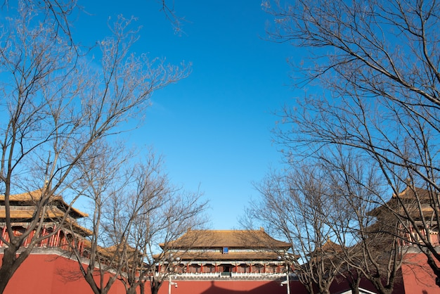 Ancient royal palaces of the forbidden city with crowd of tourist in beijing, china Premium Photo