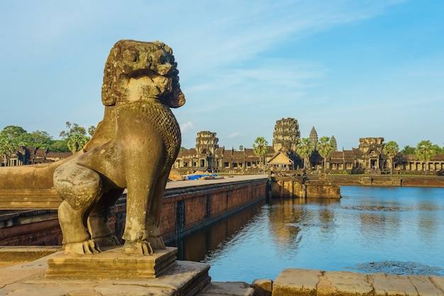 Ancient temple angkor wat from across the lake, siem reap, cambodia; Premium Photo
