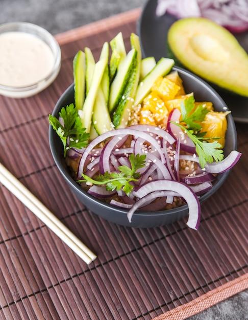 Angle view healthy raw food Free Photo