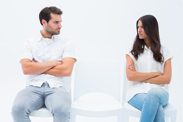 Angry couple not talking after argument Premium Photo