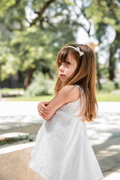Angry girl outdoors Free Photo